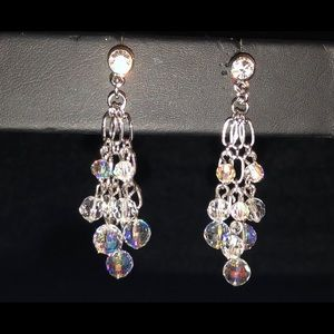Jewelry - ✨Stunning✨Aurora Borealis Silver Beaded Earrings